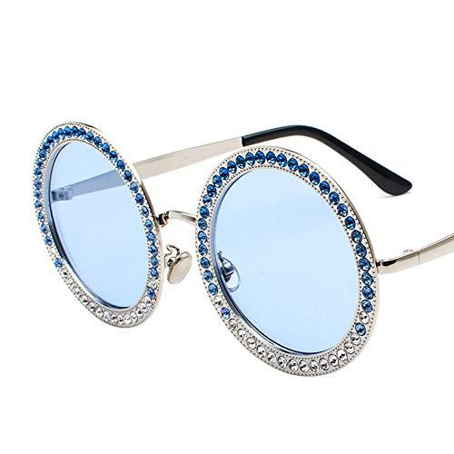 Bradoner Nuevas Gafas De Sol Redondas De Diamante Moda Océano Película Multicolor Gafas Calle Beat Gafas De Sol (Color : Blue)