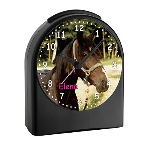 CreaDesign, WU-50-1079, Pferd, analog Kinderwecker schwarz, Funkwecker ohne Ticken, mit Licht, personalisiert mit Namen, 9,6 x 5,5 x 11,9 cm, 104 g