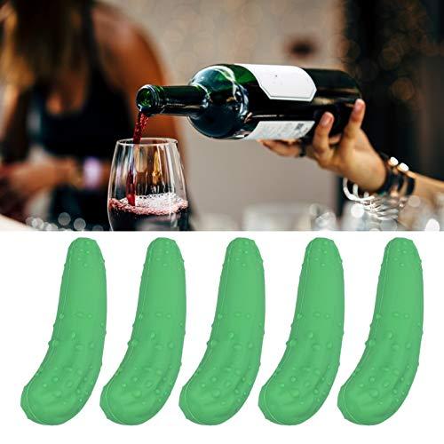 Tapón de botella de pepino duradero ecológico de corcho de silicona, para accesorios de vino verde de barra casera
