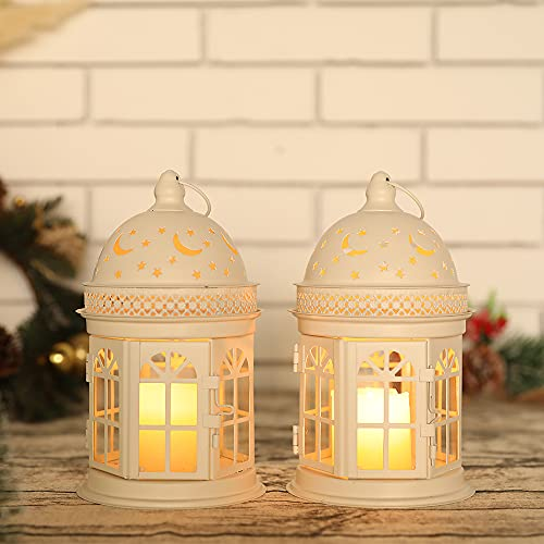 JHY DESIGN Juego de 2 linternas Decorativas Linterna Colgante de Estilo Vintage de 21,6 cm...