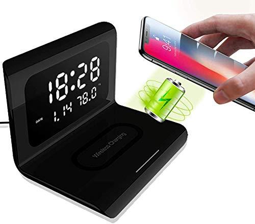 Reloj despertador digital Calendario de temperatura con base de carga inalámbrica Fast Qi de 10 W compatible con iPhone 11, 11 Pro Max, XR, Xs Max, XS, X, 8, 8 Plus, Galaxy S10 S9 S8, Note 10 Note 9