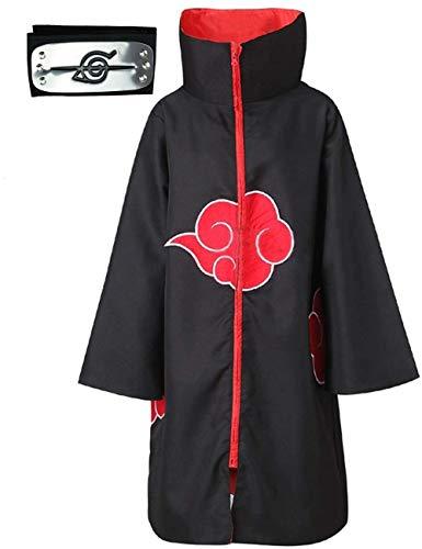 Afoxsos Akatsuki Umhang, Kostüm mit Stirnband und Ring, Itachi Cosplay-Kostüm, lange Robe, 3-teilig