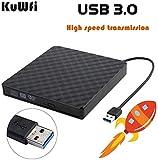 KuWFi Externes CD DVD Laufwerk, Externes optisches -Laufwerk DVD-RW USB3.0 Rewriter/Reader Plug &...