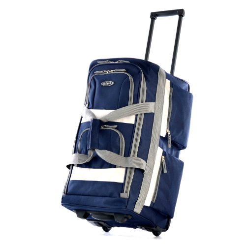 Olympia 8 Pocket Rolling Duffel Bag, Navy, 29 inch