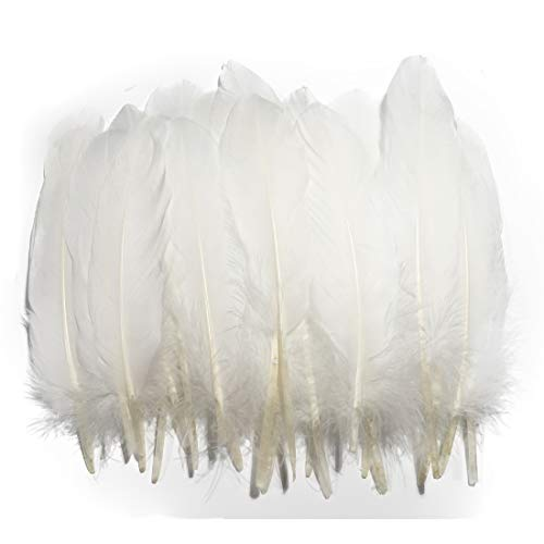 Barara king Goose Feather Beautiful White Feathers 100Pcs 6-8inches Feathers are Suitable for DIY Craft Projects Clothing and Hats