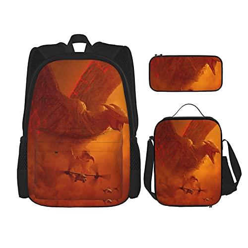 God_Zli1a - Juego de 3 bolsas escolares para adolescentes y escuelas, incluye bolsa térmica para almuerzo y estuche para lápices, Negro8, Talla única