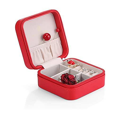 Caja De Joyería para Mujer Organizador De Joyería Maquillaje Cosméticos Caja De Joyería Caja con Cremallera Portátil, Caja De Joyería Pequeña De La Niña Portátil (Color : Red)