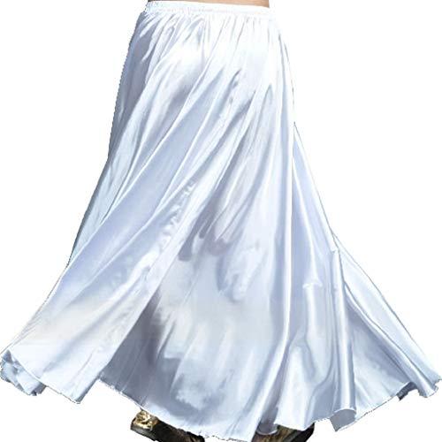 Wuchieal Bauchtanz Satin Rock Professionelle Tänzer Glänzender Full Round Swing Dance Skirt (Weiß, One Size)