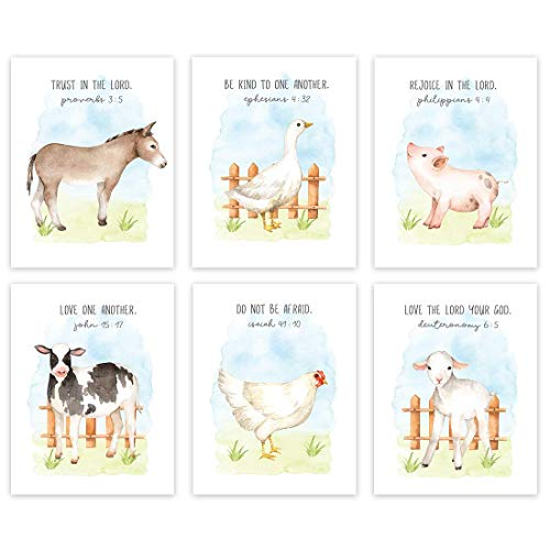Andaz Press Farm Animals Theme Nursery Kids Bedroom Hanging Wall Art Decor  8.5x11-inch  Watercolor Sky  Bible Christian Verses  Cow Duck Chicken Pig Lamb Sheep  6-Pack  Unframed Room Poster