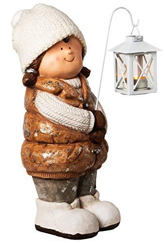 Wichtelstube-Kollektion XXL 40cm Dekofigur mit Laterne Winterkind Weihnachten Deko Figur Garten
