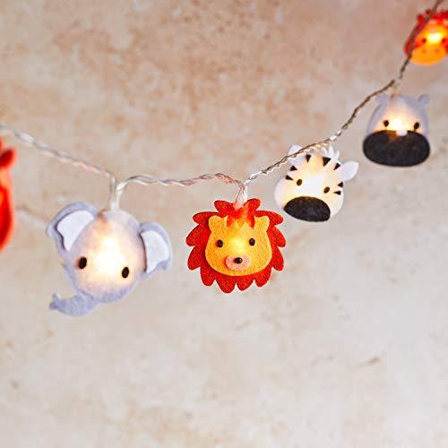 Lights4fun 16er LED Safari Lichterkette mit Filz Motiven Kinderzimmer Timer Batteriebetrieb
