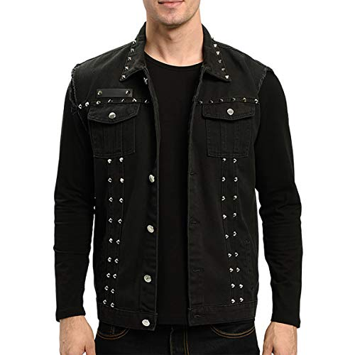 INVACHI Men's Slim Fit Punk Denim Vest Sleeveless Jeans Vest Jacket with Rivets