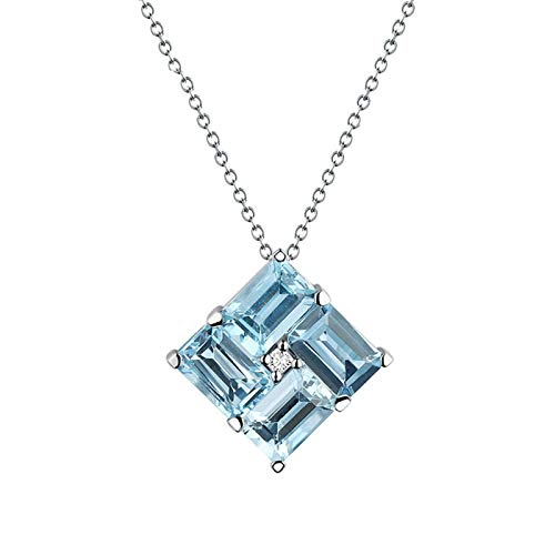 Daesar 18K Gold Necklace For Women 0.03ct Diamond Necklace Dainty Square Windmill Pendant Emerald Cut Aquamarine Pendant Necklaces Silver