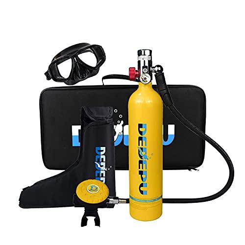 Lixibei Equipo Portátil de Buceo, Mini Botella de Buceo Botella de oxígeno con máscara de Snorkel Equipo De Oxígeno para Bucear Bombona Oxigeno Portatil con Capacidad de 15-20 Minutos,Amarillo
