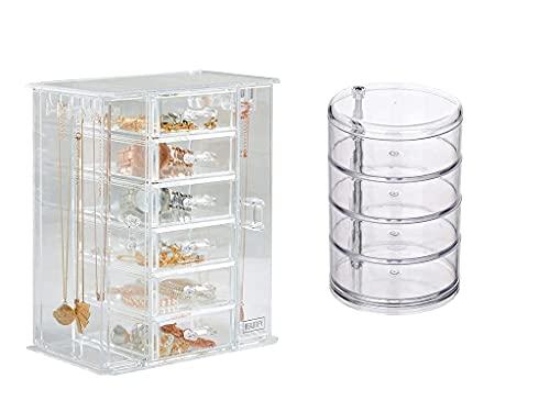 erddcbb Beautify Caja de joyería de acrílico Transparente de 6 cajones, Collar, Pendientes, Regalos para Ella (D)
