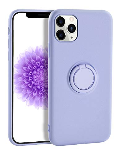 iPhone 11 Pro Max Case Silicone,Yoopake Liquid Silicone Case with Stand Ring Holder Support Magnetic Car Mount Soft Slim Protective Phone Cover for Apple iPhone 11 Pro Max,Lavender Purple