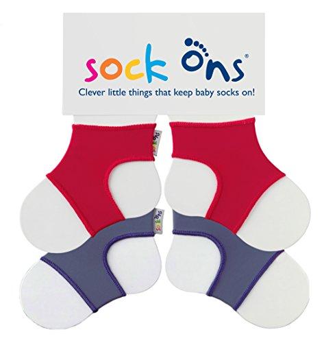 Sock Ons Kluge kleine Dinge, die Babysocken halten! - 6-12 Monate - TWIN PACKS (2 Stück) - Red & Blueberry