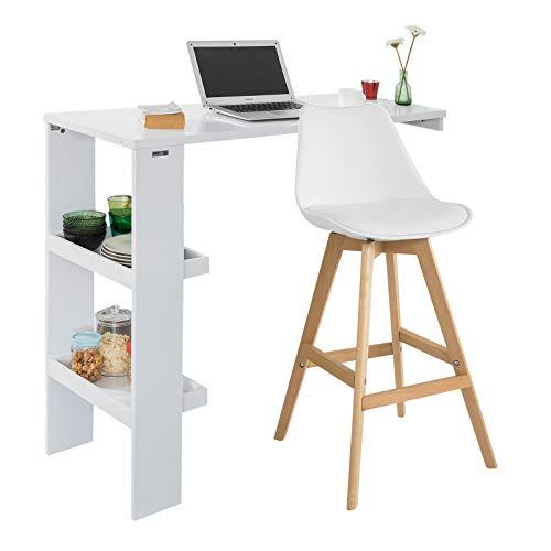 SoBuy® FWT55-W Table de Bar Murale Table Haute de Bar Mange-Debout Cuisine avec 2 étagères de Rangement – Blanc