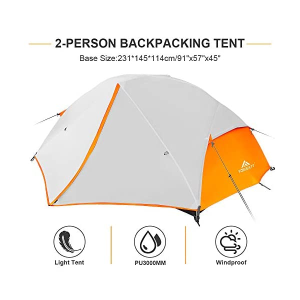Forceatt Tent 2-3 Person Camping Tent, Waterproof and Windproof 3-4 Seasons Ultralight Backpack Tent, can be Installed…