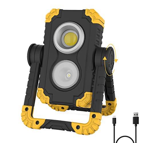 Akku LED Arbeitsstrahler,Shayson LED Baustrahler mit 360°Drehung Wasserdichtes Außenstrahler USB Wiederaufladbares Akku Arbeitslicht 1000LM Superhelle Außenlampe für Baustelle Garage Werkstatt