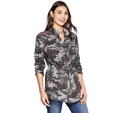 Knox Rose Women's Camo Print Long Sleeve Jacket (Gray, XS)