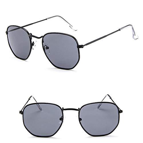 Astemdhj Gafas de Sol Sunglasses Metal Clásico Mujeres/Hombres Gafas De Sol Espejo Marca De Lujo Gafas De Sol Gafas De Conducción Femeninas Vintage BlackgrayAnti-UV
