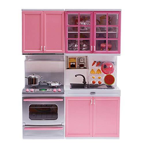 Ranana Cocinas De Juguete Para Niños De Sobremesa - Juego De Cocina Rosa Juguetes De Cocina De Plástico - Juegos De Imitación Mini Modern Kitchen Set - 27 X 9.5 X 34.5 CM applied