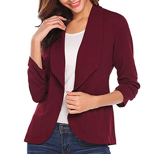 TUDUZ Damen Blazer Tailliert Kurz Elegante Langarm Slim Business Büro Jäckchen Anzug Casual Kurzblazer Mantel Jacke Outwear