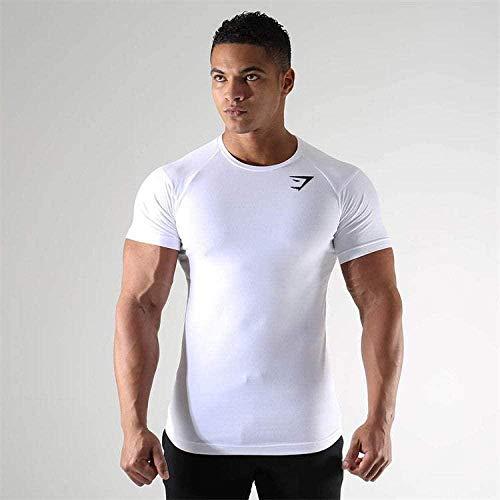 B/H Gym Running Top Workout Camisetas para Hombres,Camiseta Deportiva de Manga Corta para Hombre, de Secado rápido y Transpirable-White_M