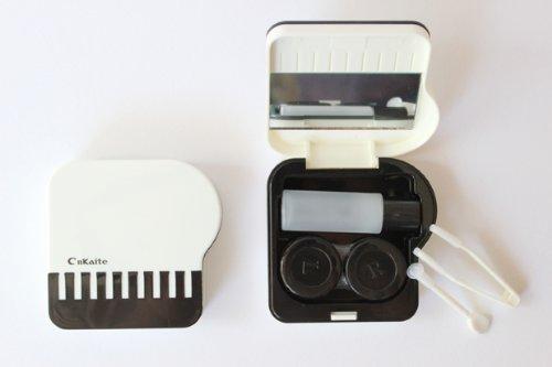 Kontaktlinsenbehälter Aufbewahrungsbehälter Etui Set Spiegel süßes Klavier Weiß