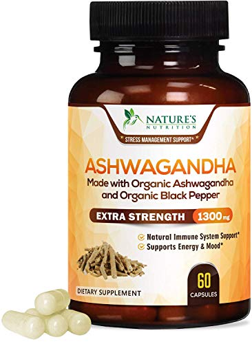 Ashwagandha 1310mg with Organic Ashwagandha Root Powder & Black Pepper Extract for Mood & Stress Support, Made in USA, Calming, Adrenal & Thyroid Support Supplement, Vegan, Non-GMO - 60 Capsules