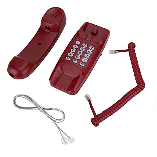 LYQQQQ Montaje en la Pared de la extensión de teléfono de la línea Fija sin identificador de Llamadas Teléfono para casa para la Familia del Hotel (Color : Red)
