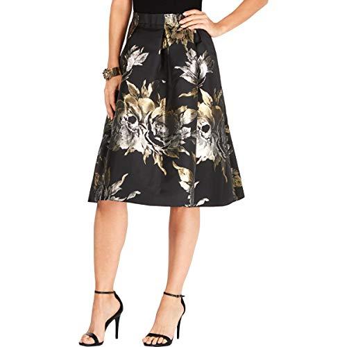 JBS Ltd. Falda Metalizada con Estampado Floral en línea A para Mujer,...