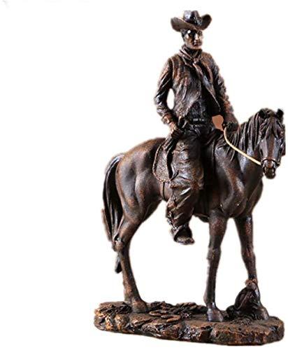 KUPR Decorativas Estatuas Adorno Estatuilla Resina Estatua de Vaquero del Oeste Americano Caballo de Montar Escultura de Animal en Miniatura Decoración navideña para el hogar