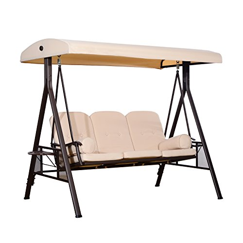 Outsunny Outdoor Patio 3-Person Steel Canopy Cushioned Seat Bench Swing with Included Side Trays & Padded Comfort, Beige