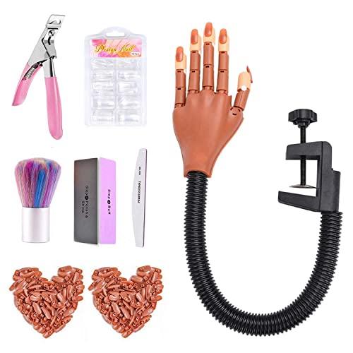 Dream Reach Mano de práctica de entrenamiento de uñas, Suministro de manicura para exhibición de uñas, Arte de uñas manos falsas móviles flexibles para manicura de uñas, Manos y dedos para practicar