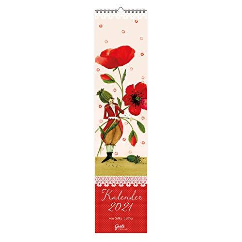 Wandkalender 2021 schmal I Dekorativ mit Mohnblume | Monatsplaner zum Aufhängen |Jahreskalender mit 14 Monatsseiten, jahresübergreifend, mit Ferienterminen