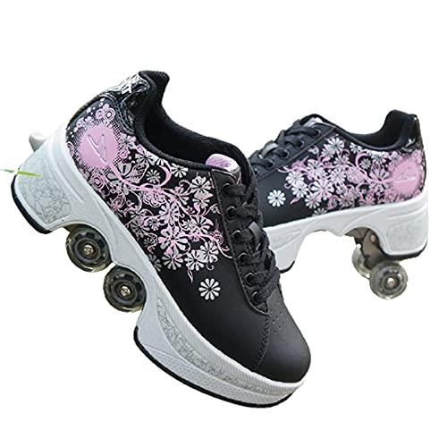 Doble Rodillo Zapatos De Skate Zapatos Invisible De Polea De Zapatos Zapatillas De Deporte Luz Zapatos Zapatos Multiusos, niños Zapatos Black Powder,36