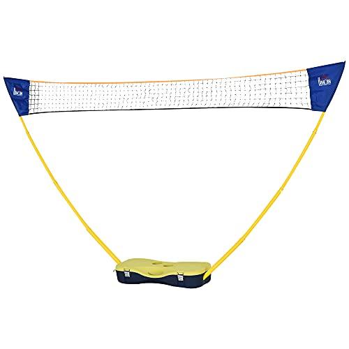 HOMCOM Badminton Netz mit Stand, Badminton-Netzständer, tragbarer Netzständer, Badmintonnetz mit 4 Badminton-Schlägern, Outdoor-Sport, Gelb+Blau, 280 x 33 x 157 cm