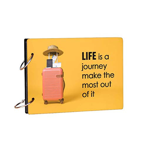 100Yellow® Life is A Journey Wooden Photo Album Scrapbook Memory Book, Romantic Love Scrapbook Album, Forever Love