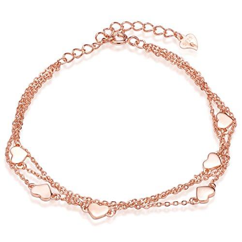 Unendlich U Klassisch Herzen Damen Strangarmbänder 925 Sterling Silber Armkette Verstellbar Charm-Armband Armkettchen Armreif, Rosegold