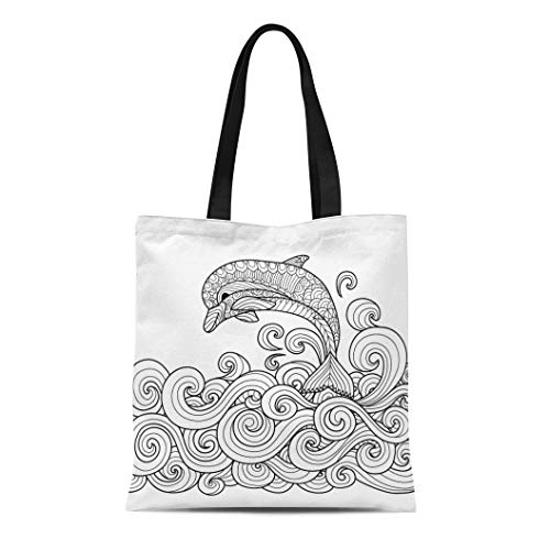 Semtomn Cotton Canvas Tote Bag Adult Zentangle Dolphin Scrolling Sea Wave for Coloring Book Reusable Shoulder Grocery Shopping Bags Handbag Printed