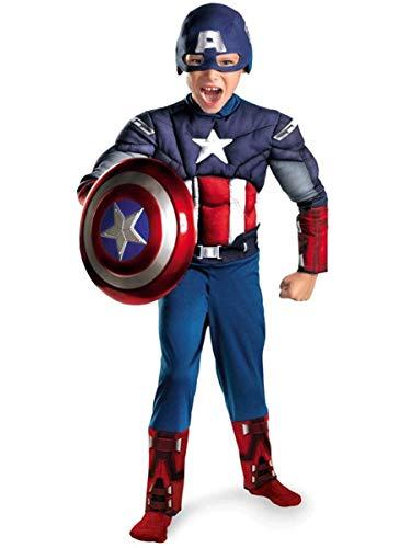 Bambini Capitan America Tuta elasticita con cassapanca muscolare, collant per capelli), bambino adulto super eroe spandex vestito costumi di halloween (senza scudo di battaglia,kid XS 90~110cm-Blue