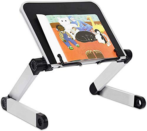 RAINBEAN - Supporto per libri da lettura, regolabile in altezza e angolazione, ergonomico, con graffette per ufficio laterali per leggere grandi libri didattici pesanti, tablet Cook ricetta