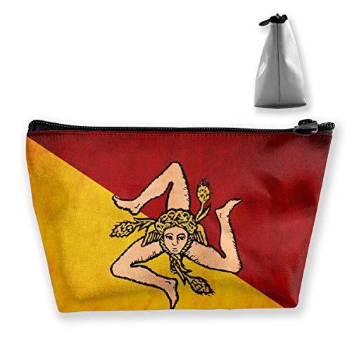 Trousse de maquillage de voyage multifonction - Couleur bois - Motif drapeau de la Sicile