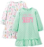 Simple Joys by Carter's Girls' Little Kid 2-Pack Fleece Nightgowns, Cats/Not Sleepy, 4-5