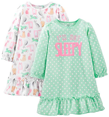 Simple Joys by Carter's Girls' Little Kid 2-Pack Fleece Nightgowns, Cats/Not Sleepy, 4-5