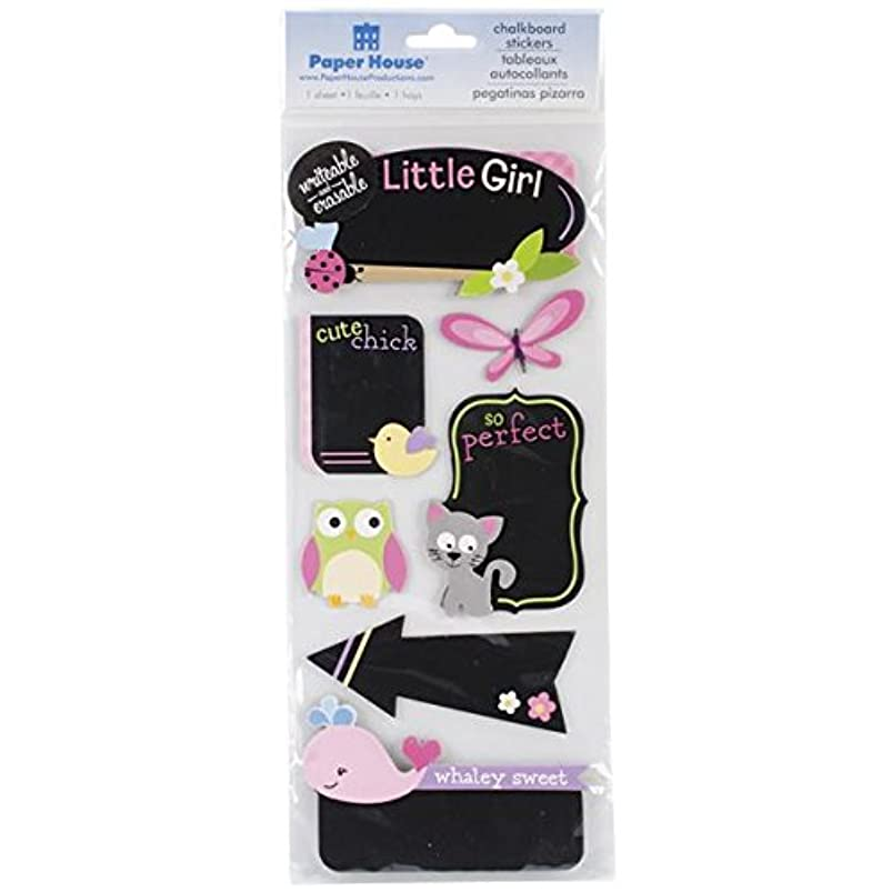 Paper House Productions STCH-0008E Baby Erasable Chalkboard Stickers, Baby Girl (3-Pack) mzdkkepx722797