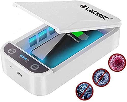 Lacmisc® Uv-sterilisator, uv-defectiebox met draadloze oplaadfunctie, huishoudsterilisator, UV-mobiele telefoon, sterilisator, aromatherapie, functioneel desinfectieapparaat voor iPhone en Android, cadeau