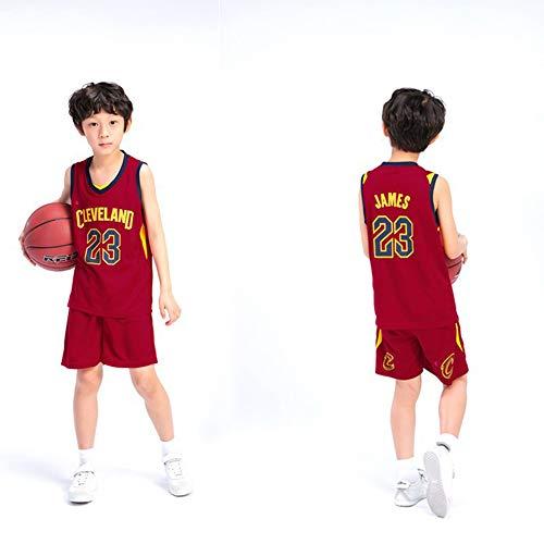 WANLN Conjunto De Camiseta Deportiva De La NBA para Niños, Niños, Cavaliers#23 Trajes De Entrenamiento De Bordado De Baloncesto para Niños Y Niñas,2,XS